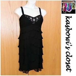 MOVING SALE! Black Chiffon/Rhinestone Dress 18